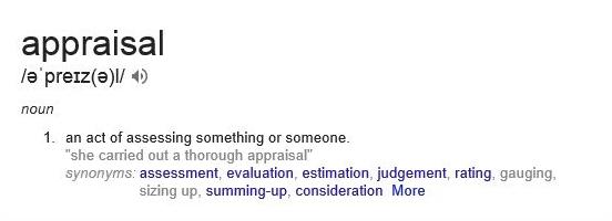 AppraisalDefinitionGoogle