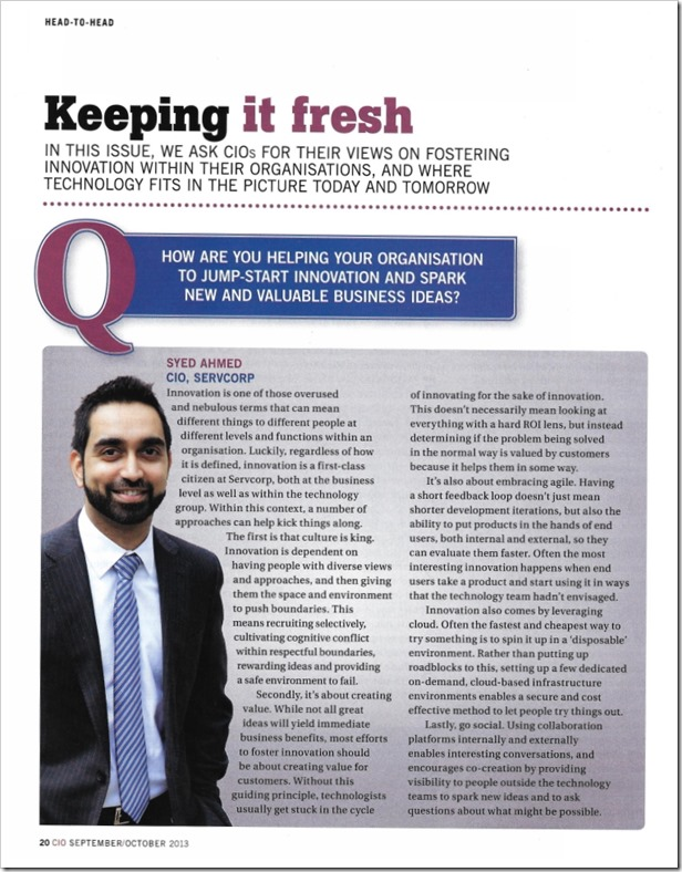 Syed Ahmed - CIO Magazine - Sep-Oct 2013 - Innovation