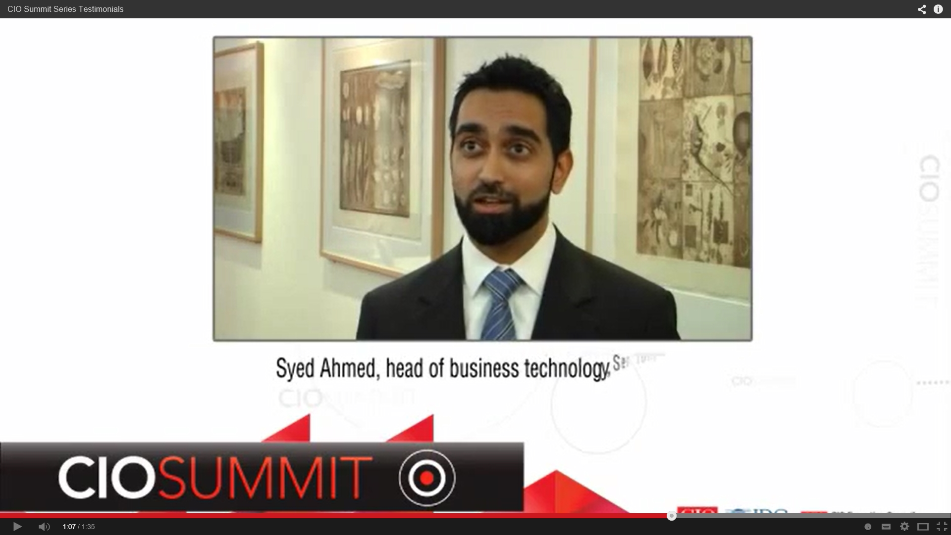 Syed Ahmed - CIO Summit Testimonial