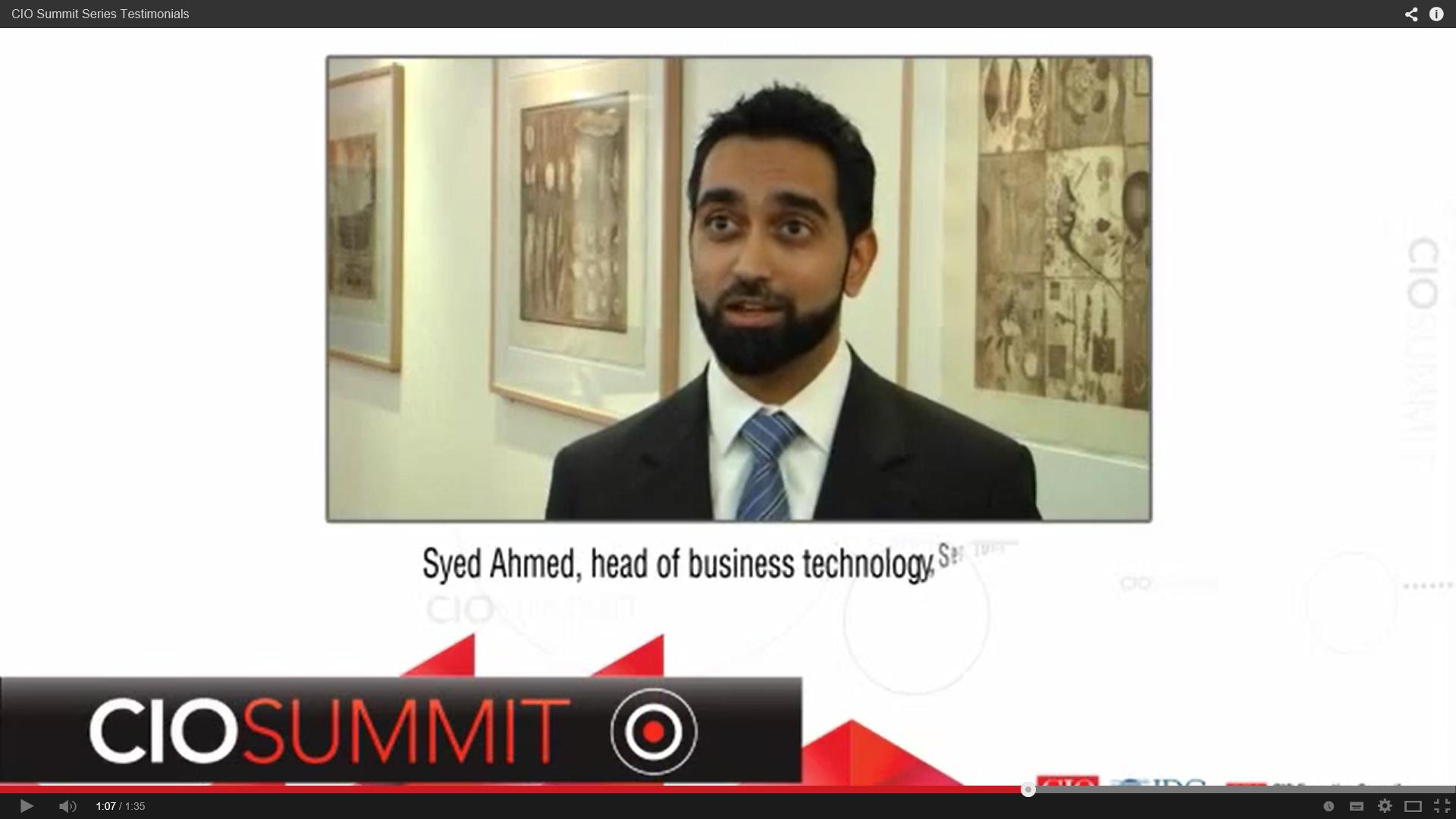 Syed Ahmed - CIO Summit Testimonial